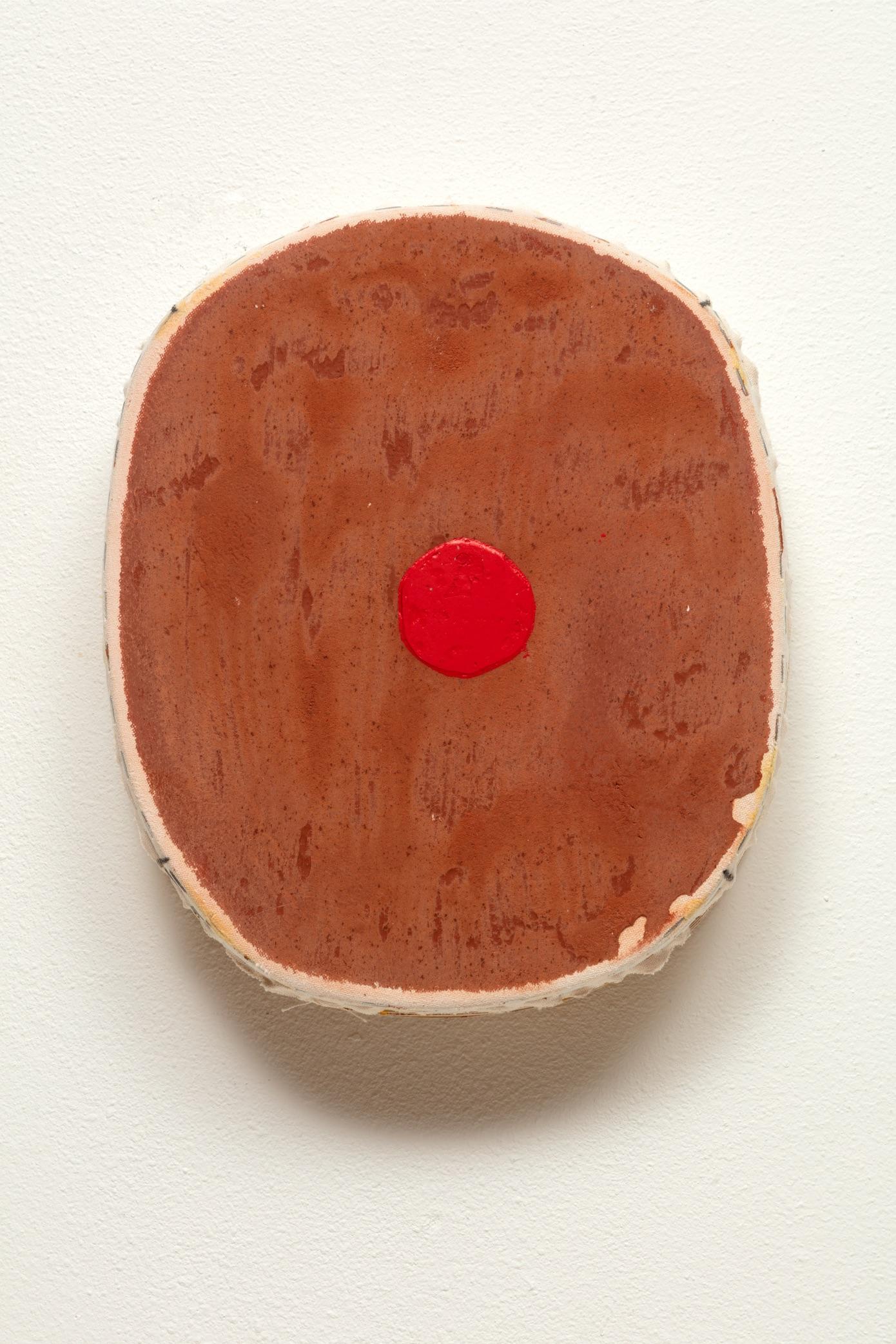 "9: Otis Jones - Brown With Red Circle - Acrylic on Canvas - 14 1⁄4"" x 12 1⁄4"" x 3 1/8"" - 2019"