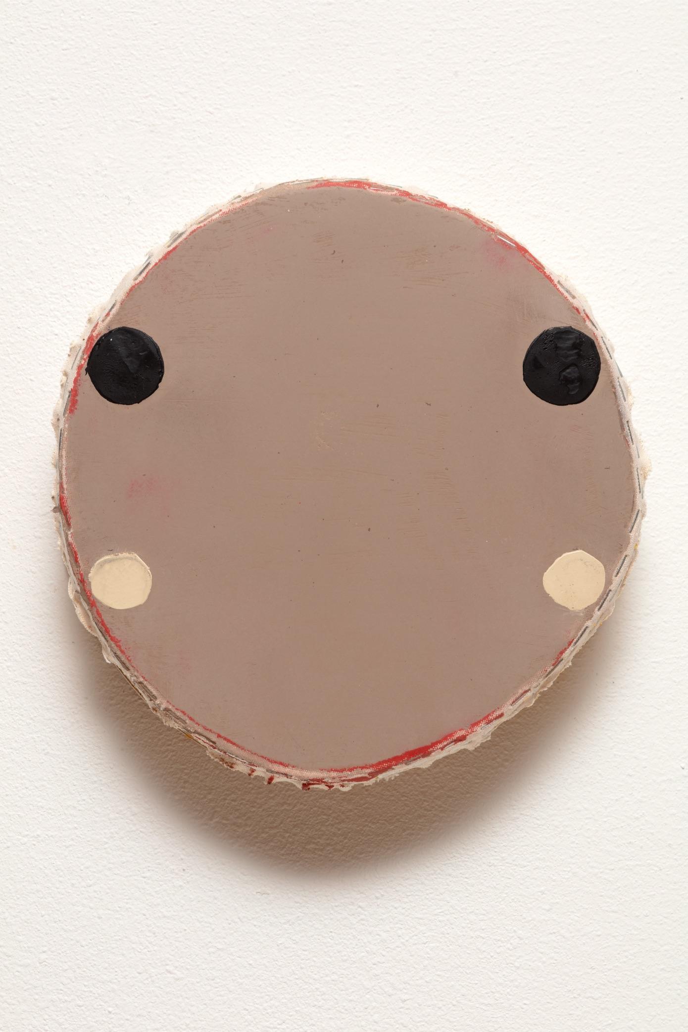 "7: Otis Jones - Four Circles,Two Black - Acrylic on Canvas 12"" x 11 1⁄2"" x 3"" - 2019"