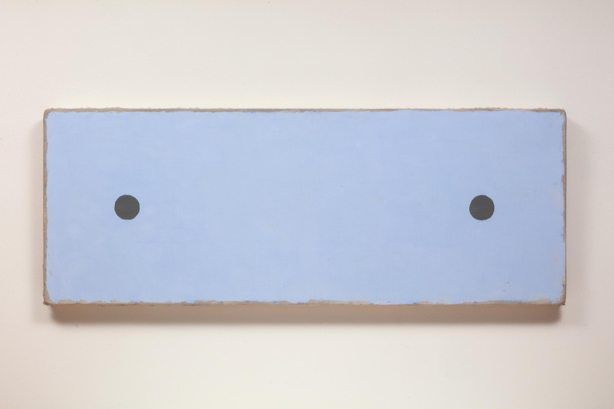 "2. Otis Jones - 2 Grey Circles Far Apart, 2019 - Acrylic on linen on wood, - 30"" x 80"" x 3 3⁄4"" - 76.2 CM. x 203.2 CM. x 9.5 CM"