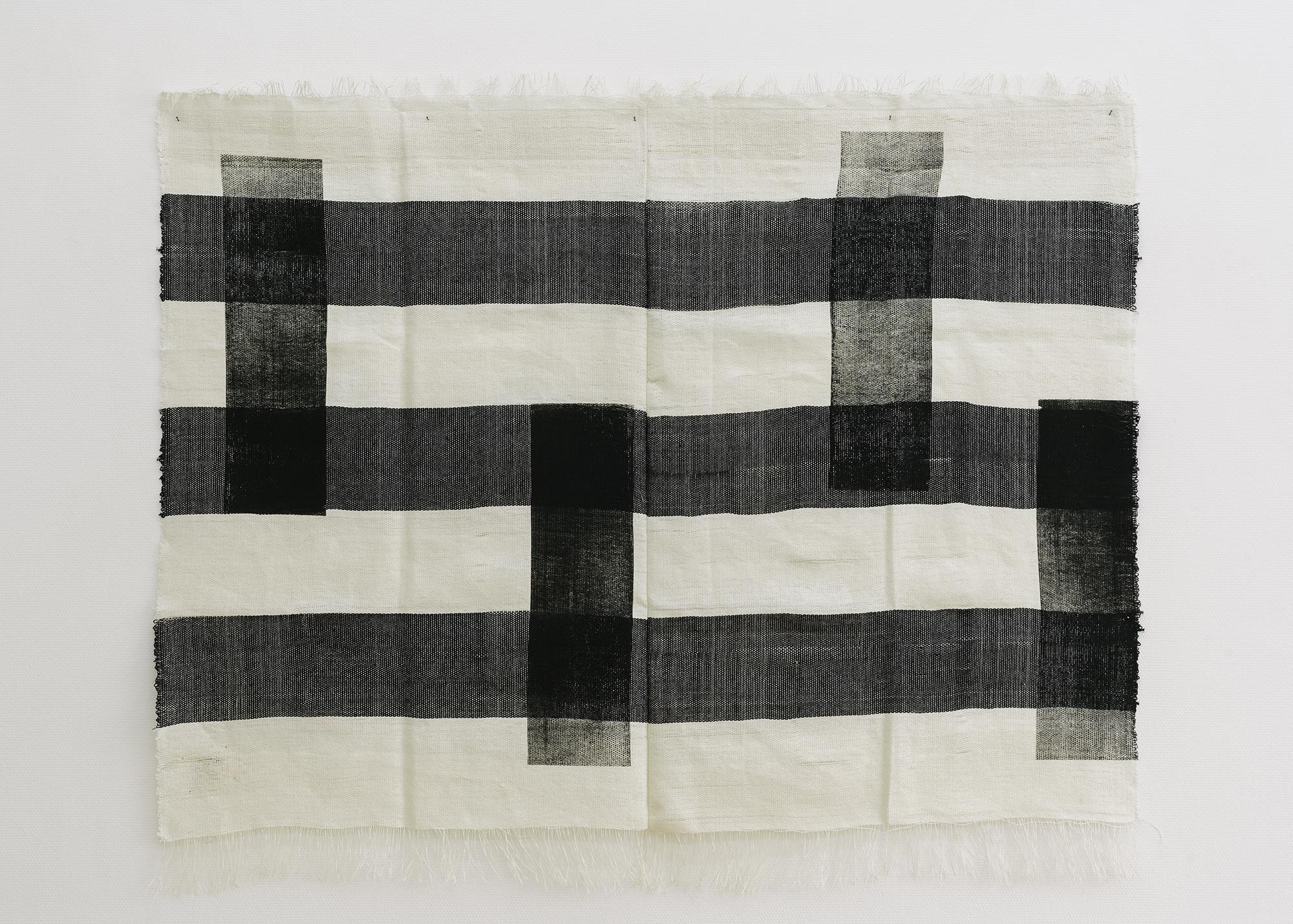 1 Marie Hazard _«réveilles toi»_Hand woven in paper linen and screenprinting_2020_160x200cm