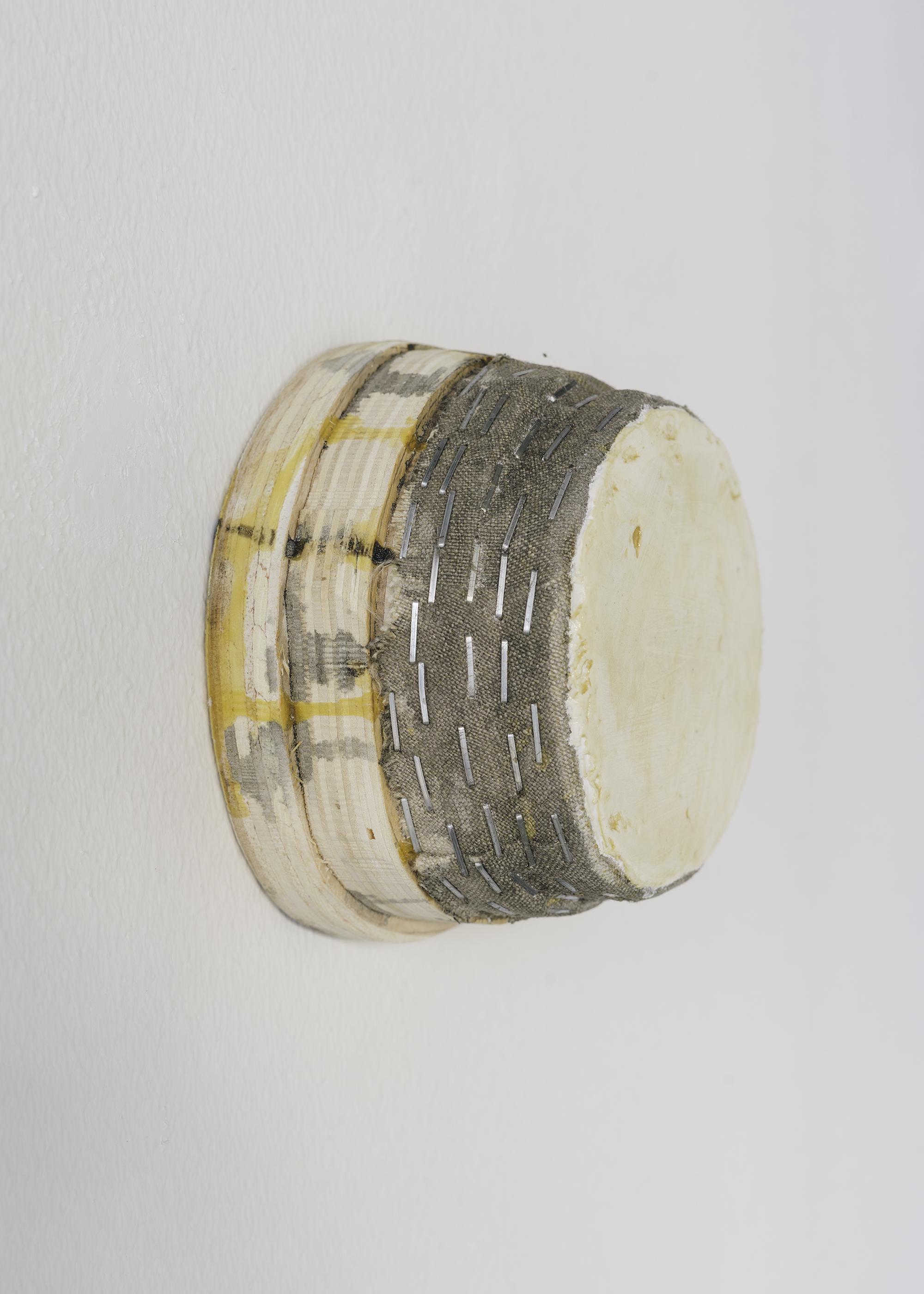 4 Otis Jones - UT Beige, 2021 Acrylic on linen on wood 12CM x 12CM x 7.5CM