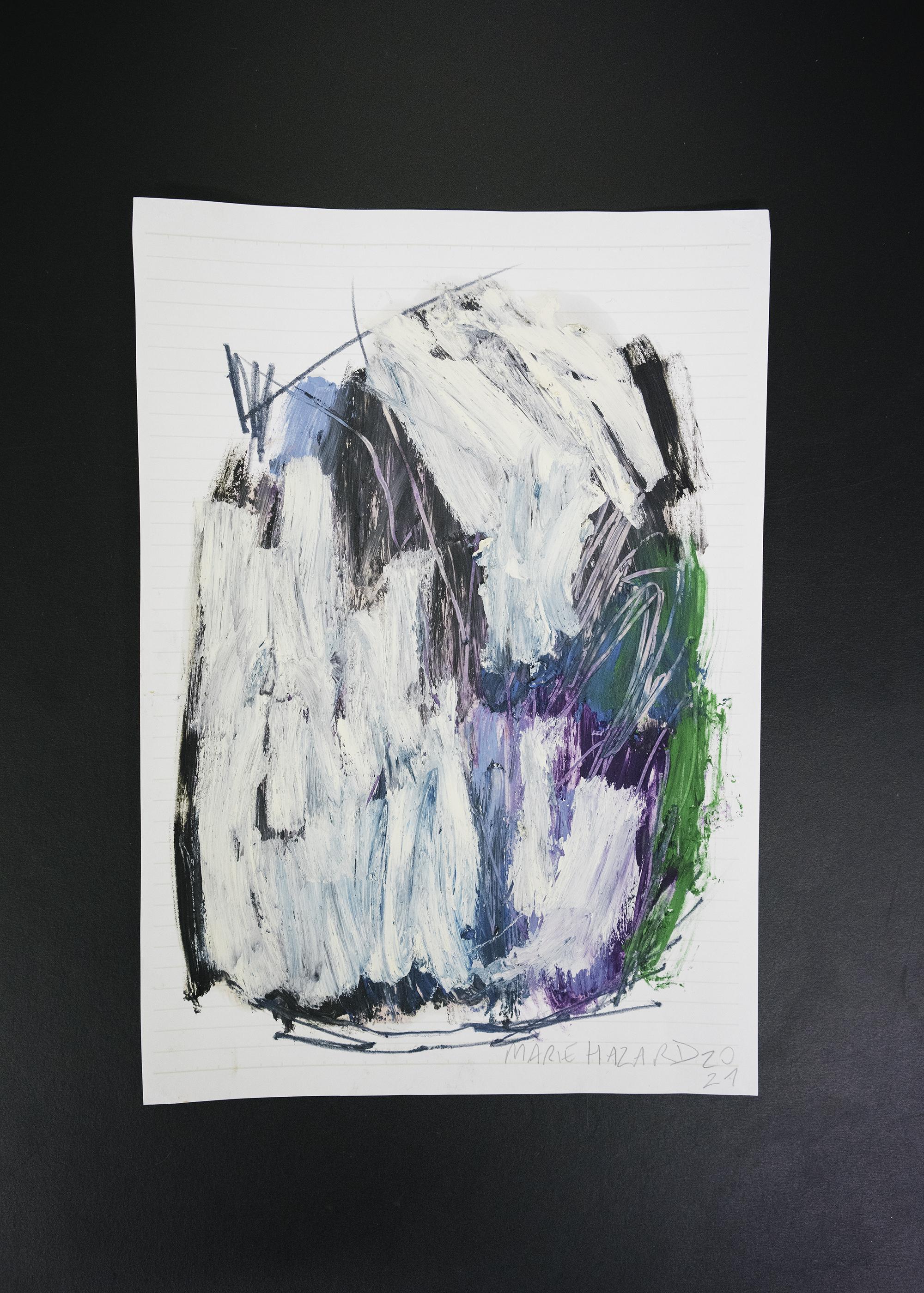 6 Marie Hazard < étude for my single cosmos >> 2021 - Oil sticks on paper Unique 24 x 16,5 cm