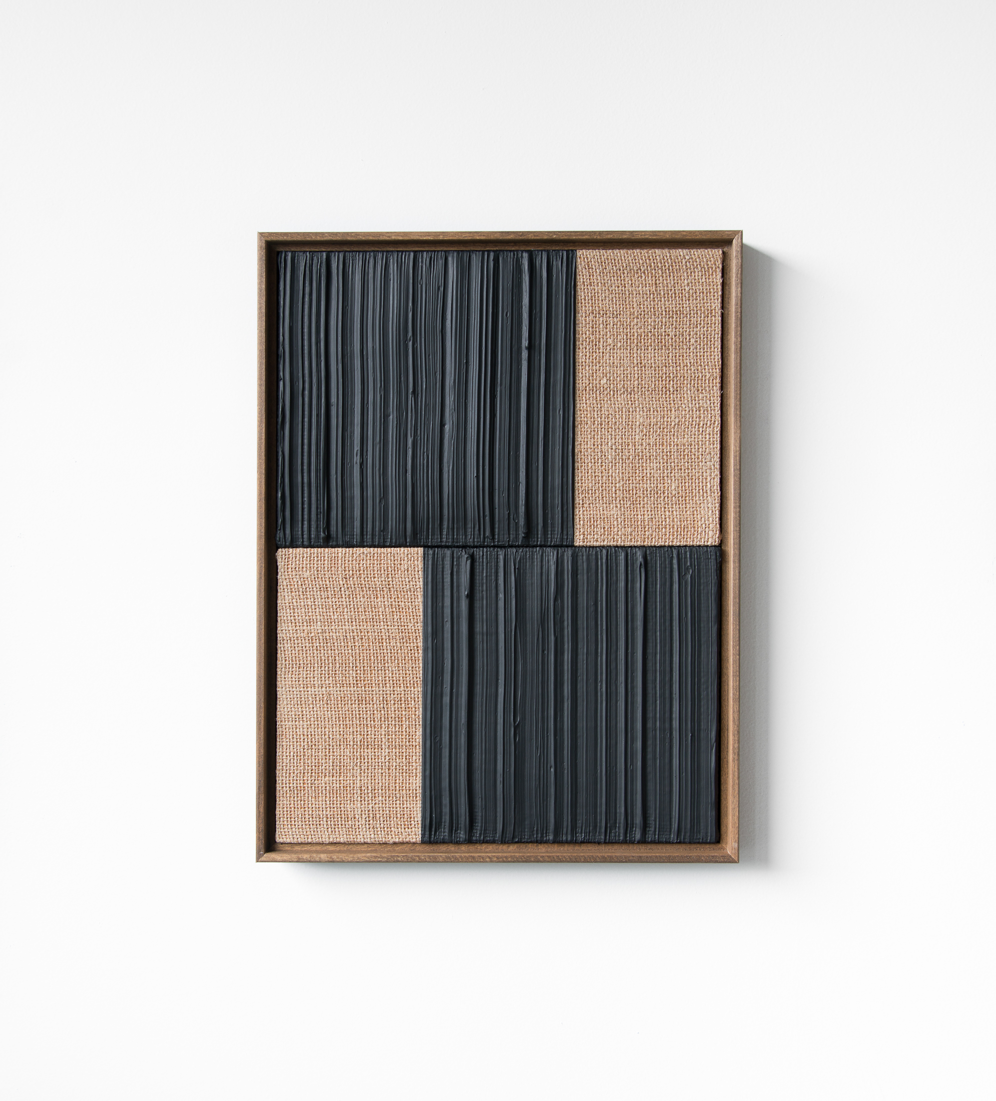 Johnny Abrahams Black-Black Acrylic on burlap over panel 2021 - 13x17 inches